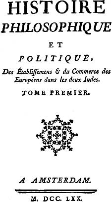 Guillaume Thomas François Raynal title page.