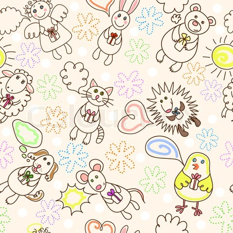 3841285-300443-childe-drawing-seamless-pattern-with-cute-aimals-and-angel