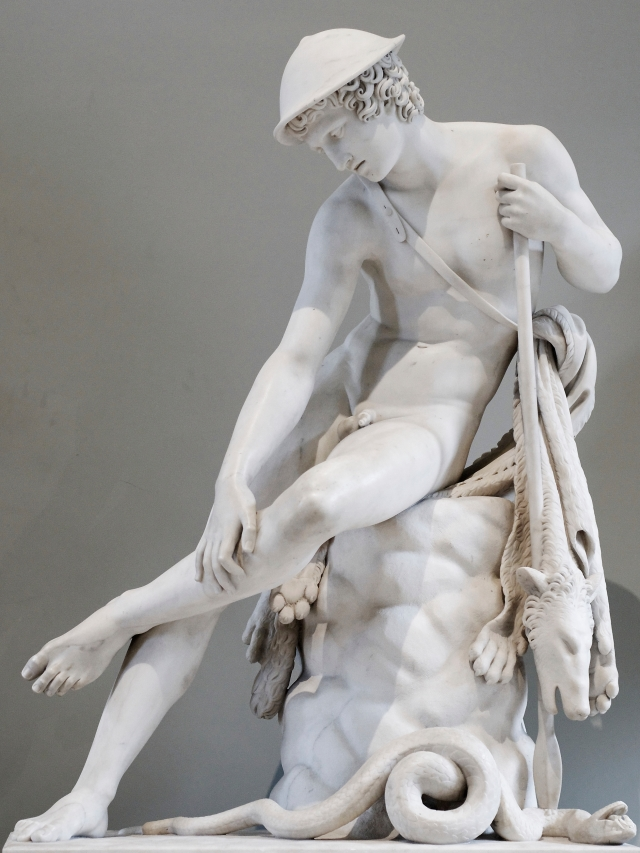 Louis Petitot - Young hunter wounded by a snake, marble. Exhibited at the 1827 Salon.