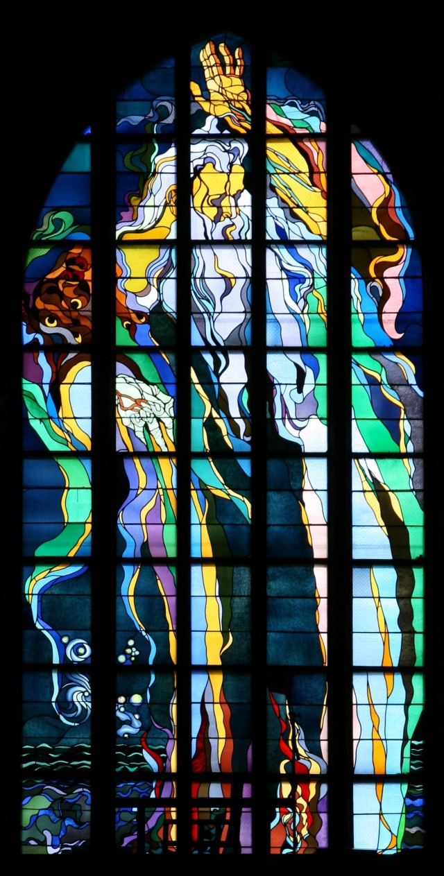 Stained glass window made by Stanisław Wyspiański (1869–1907) in church of St. Francis in Kraków (Poland).